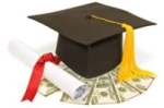 mortar board and cash